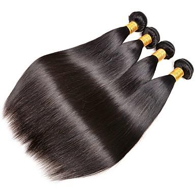 povoljno Ekstenzije od ljudske kose-4 paketića Indijska kosa Ravan kroj Ljudska kosa Netretirana  ljudske kose Produžetak Bundle kose Jedan Pack Solution 8-28 inch Natural Prirodna boja Isprepliće ljudske kose Svilenkast Smooth Lijep