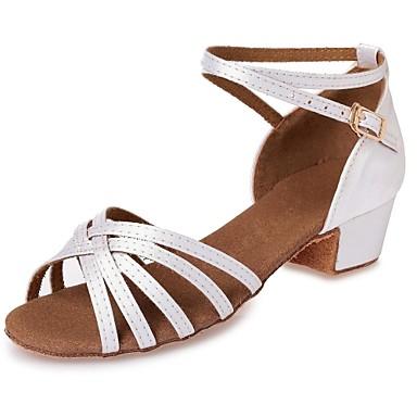 preiswerte Schuhe und Taschen-Mädchen Tanzschuhe Seide Schuhe für den lateinamerikanischen Tanz Band-Bindung Absätze Blockabsatz Maßfertigung Weiß / Leder / Professionell