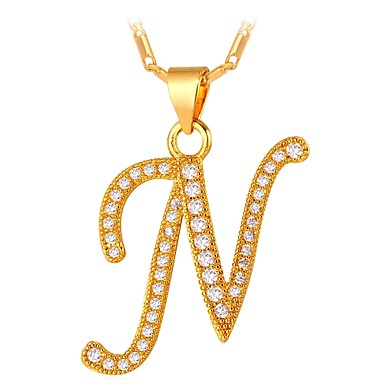 cheap Pendant Necklaces-Men's Cubic Zirconia Pendant Necklace Name Alphabet Shape Letter Fashion Copper Gold Silver 55 cm Necklace Jewelry For Gift Daily