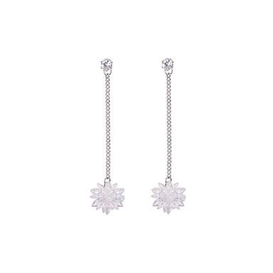 Long Drop Earrings Gemstone Snowflake Simple Sweet Fashion