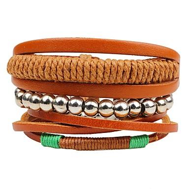 voordelige Herensieraden-Gelaagd / stack Lederen armbanden - Modieus, Meerlaags Armbanden Bruin Voor Ceremonie / Straat / 3 stuks