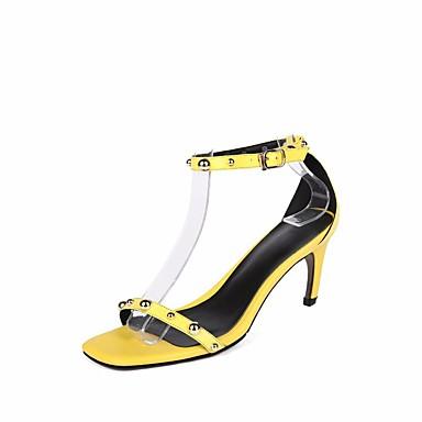 Mujer Zapatos Cuero Verano Confort / Pump Básico Sandalias Tacón Stiletto Amarillo / Verde / Rosa GumQqP1W