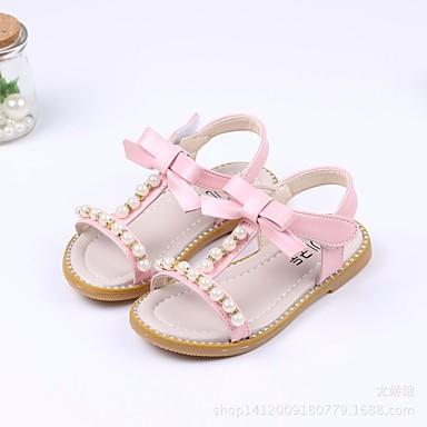 저렴한 아동 샌달-여아 컴포트 / 플라워 걸 신발 PU 샌들 유아 (9m-4ys) / 어린 아이들 (4-7ys) 화이트 / 그린 / 핑크 여름
