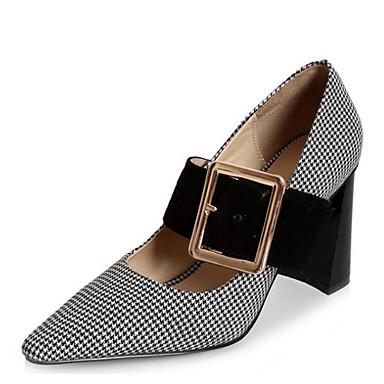 Mujer Zapatos Cuero de Napa / Cuero Primavera / Otoño Confort Tacones Tacón Cuadrado Blanco / Negro / Marron Vente Confortable IpxbjH