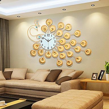 halpa Seinäkellot-moderni tyyli luova kultainen super iso riikinkukko mykistetty seinäkello