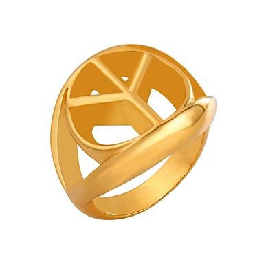 billige Motering-Herre Dame Knokering Signet Ring Gull Svart Sølv Rustfritt Stål Sirkelformet Mote Daglig Smykker Fred