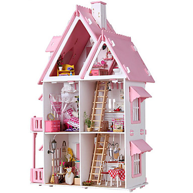 cheap Doll Houses-Dollhouse Dream House DIY Large Hand-made Furniture House Wooden Cotton Cloth ABS Classic Kid's Adults Boys and Girls Toy Gift