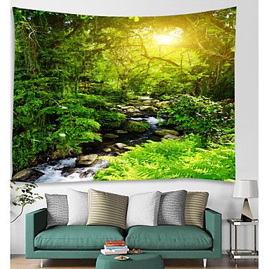 cheap Wall Tapestries-Wall Tapestry Art Decor Blanket Curtain Picnic Tablecloth Hanging Home Bedroom Living Room Dorm Decoration Nature Landscape Forest Tree River Sun