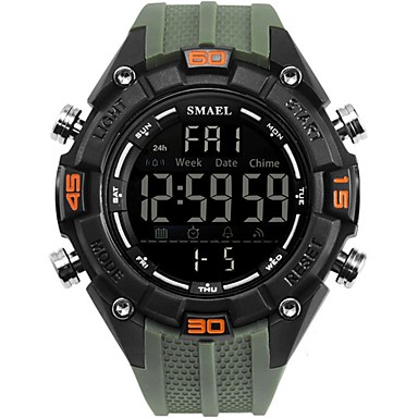 cheap Sport Watches-Men's Military Watch Digital Watch Casual Water Resistant / Waterproof Silicone Black / Blue / Clover Digital - Black / Silver Blue Green Two Years Battery Life / Stainless Steel / Japanese