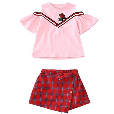 c7579b0036190 Çocuklar Genç Kız Temel Solid Kısa Kollu Polyester Kıyafet Seti Beyaz 140  6709279 2019 – $15.95