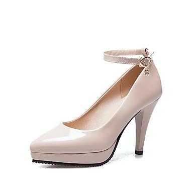 Mujer Zapatos Semicuero Primavera / Otoño Confort / Innovador Tacones Tacón Stiletto Dedo Puntiagudo Hebilla Negro / Rojo / Almendra le6Z3