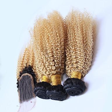 povoljno Ekstenzije od ljudske kose-3 paketi s zatvaranjem Brazilska kosa Kovrčav Remy kosa Ombre Ekstenzije od ljudske kose Kosa potke zatvaranje Plavuša Isprepliće ljudske kose Prirodno Rasprodaja Ombre Proširenja ljudske kose / 10A