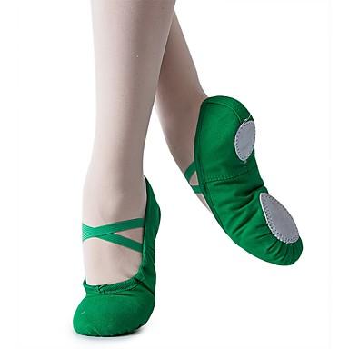 cheap Ballet Shoes-Girls' Dance Shoes Canvas Ballet Shoes Flat Flat Heel Customizable Dark Green / Red / Indoor / Practice