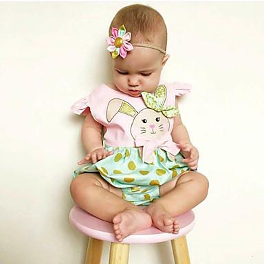 preiswerte Einteiler für kleine Mädchen-Baby Mädchen Aktiv Alltag / Festtage Punkt / Druck / Einfarbig Märchenthema / Tupfen / Tiermuster Kurze Ärmel Body Grün / Niedlich