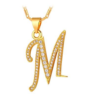 povoljno Modne ogrlice-Muškarci Kubični Zirconia Ogrlice s privjeskom Jastuk Ime Alphabet Shape Slovo Moda Kamen Zlato Pink 55 cm Ogrlice Jewelry Za Dar Dnevno