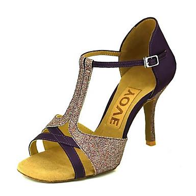 ราคาถูก Trendy Shoes-สำหรับผู้หญิง รองเท้าเต้นรำ ซาติน / ไหม ลาติน / Salsa หัวเข็มขัด / ผูกริบบิ้น รองเท้าแตะ / ส้น ส้นแบบกำหนดเอง ตัดเฉพาะได้ บรอนซ์ / Almond / Nude / Performance / หนังสัตว์ / มืออาชีพ / EU39