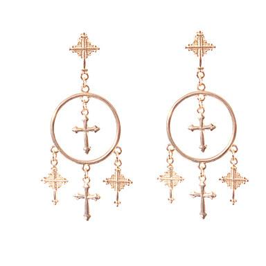 povoljno Modne naušnice-Žene Viseće naušnice Ukriženo Kereszt Jednostavan Europska Moda Naušnice Jewelry Zlato / Pink Za Dnevno 1 par