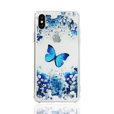 Etui Til Apple iPhone XS / iPhone XR / iPhone XS Max Støtsikker / Gjennomsiktig / Mønster Bakdeksel Sommerfugl / Blomsternål i krystall Myk TPU