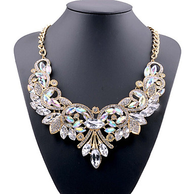 cheap Necklaces-Women's Blue Red White Crystal Statement Necklace Bib Ladies Luxury European Chunky Acrylic Alloy White Red Blue 49 cm Necklace Jewelry For Party Evening Party