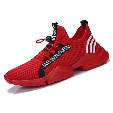 Hombre Zapatos Punto / Tul Verano Confort / Suelas con luz Zapatillas de deporte Blanco / Negro / blanco / Negro / Rojo C015s