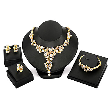 preiswerte Perlen Schmuck Sets-Damen Schmuckset damas Retro Modisch überdimensional Perlen Ohrringe Schmuck Gold Für Party Zeremonie