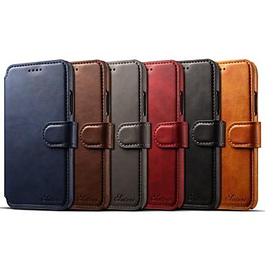 Etui Til Apple iPhone X / iPhone 8 Plus / iPhone 8 Lommebok / Kortholder / med stativ Heldekkende etui Ensfarget Hard PU Leather