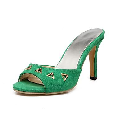 Mujer Zapatos Cuero Verano Talón Descubierto Zuecos y pantuflas Tacón Cono Dedo redondo Amarillo Acheter Pas Cher Abordable LCOhfN