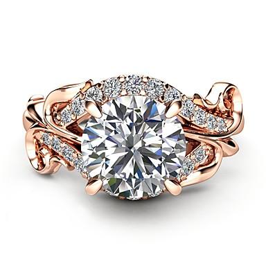 levne Dámské šperky-Dámské Zásnubní prsten Syntetický diamant Světle hnědá Měď Růže pozlacená Kov Circle Shape Geometric Shape dámy Dovolená Módní Párty Plesová maškaráda Šperky Solitaire simulované Dinosaurus Koule
