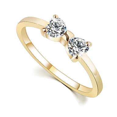 4e9acf132 Women's Diamond Crystal Cubic Zirconia Couple Rings Engagement Ring Promise  Ring Alloy Bowknot Ladies Vintage Sweet Elegant Bling Bling Ring Jewelry  Gold ...