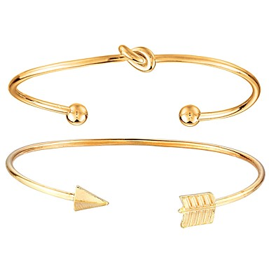 levne Dámské šperky-Kotníkové náramky Široké náramky Twist Circle Arrow dámy Módní Kov Náramek šperky Zlatá Pro Denní Street