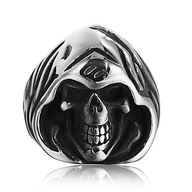 voordelige Herensieraden-Heren Statement Ring Zilver Titanium Staal Modieus Disco Dagelijks Club Sieraden Schedel