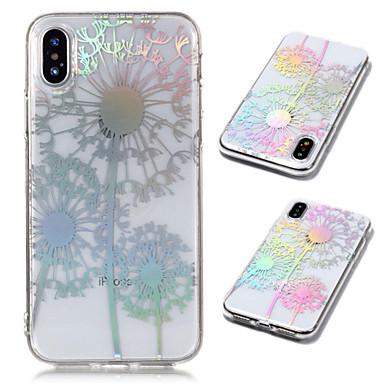 Etui Til Apple iPhone X / iPhone 8 Plus / iPhone 8 Belegg / Gjennomsiktig / Mønster Bakdeksel løvetann / Blomsternål i krystall Myk TPU