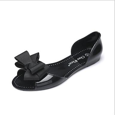 levne Dámské boty s plochou podrážkou-Dámské Bez podpatku Rovná podrážka Otevřený palec PVC kůže / Koženka Pohodlné Léto Červená / Modrá / Mandlová