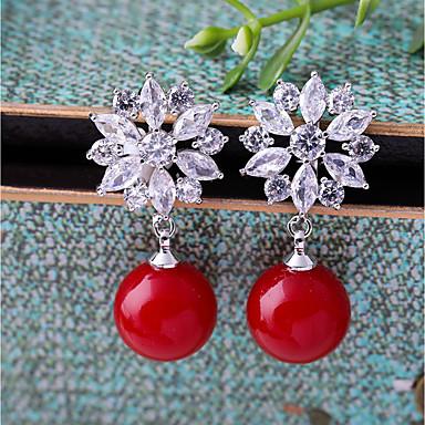 povoljno Naušnice-Žene Kubični Zirconia Klipse Cvijet Moda Naušnice Jewelry Crvena Za Vjenčanje Angažman 1