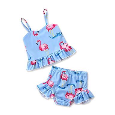 preiswerte Bademode-Kinder Baby Neugeborene Mädchen Aktiv Ausgehen Strand Flamingos Druck Druck Ärmellos Bademode Leicht Blau