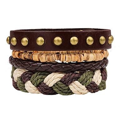 voordelige Herensieraden-4pcs Lederen armbanden Meerlaags stack Modieus Meerlaags Leder Armband sieraden Bruin Voor Ceremonie Straat