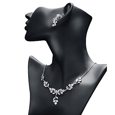 cheap Jewelry Sets-Women's Cubic Zirconia Jewelry Set Drop Earrings Pendant Necklace Leaf Classic Fashion Earrings Jewelry White For Wedding Evening Party