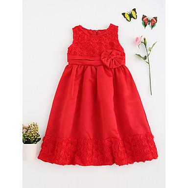 1079 Bebé Chica De Encaje Cumpleaños Noche Un Color Manga Corta Vestido Rojo Algodón
