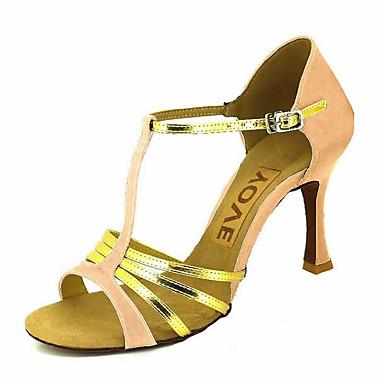 สำหรับผู้หญิง รองเท้าเต้นรำ ซาติน / หนังเทียม ลาติน / Salsa หัวเข็มขัด / ผูกริบบิ้น รองเท้าแตะ / ส้น ส้นแบบกำหนดเอง ตัดเฉพาะได้ บรอนซ์ / Almond / Nude / Performance / หนังสัตว์ / มืออาชีพ