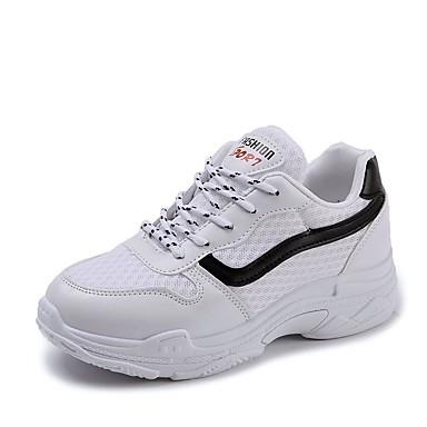 Mujer Zapatos Microfibra Verano Confort Zapatillas de deporte Tacón Plano Dedo redondo Blanco À Vendre SVbwVer