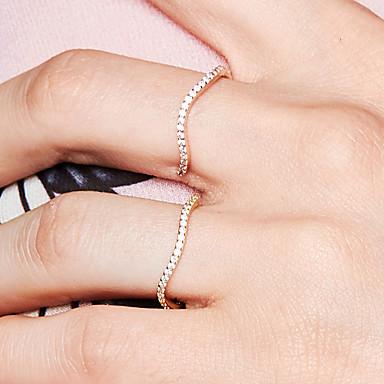billige Motering-Dame Åpne Ring Evigheten Ring Diamant Kubisk Zirkonium liten diamant 1pc Rose Gull 18K Gullbelagt Metall S925 Sterling Sølv Dainty damer Grunnleggende Daglig Ut på byen Smykker Bølge
