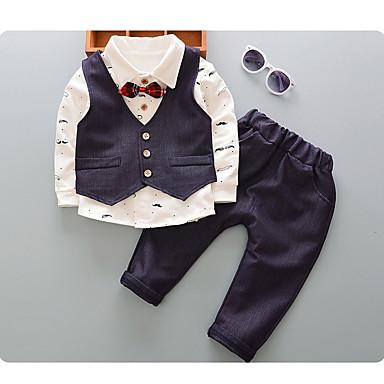 preiswerte Kleidersets für Jungen-Baby Jungen Aktiv Street Schick Solide Langarm Kleidungs Set Hellgrün