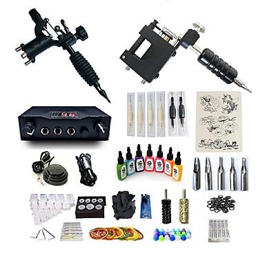BaseKey Tattoo Machine Startkit - 2 pcs tattoo maskiner med 7 x 15 ml tatovering blekk, Profesjonell, Sæt Legering LCD strømforsyning No case 20 W 2 x roterende tatoveringsmaskin til lining og