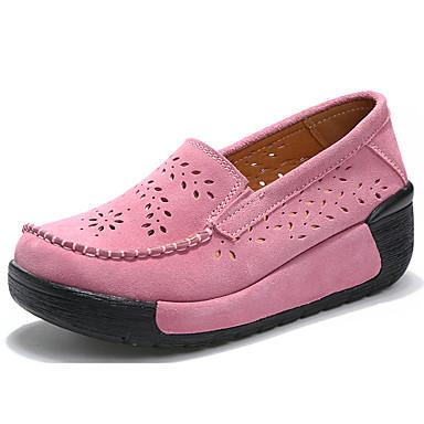 בגדי ריקוד נשים נעליים ללא שרוכים עקב טריז בוהן עגולה סוויד יום יומי / בריטי הליכה קיץ & אביב / קיץ שחור / אדום / ורוד