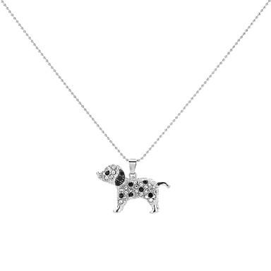 Artistic 3-D Silver Hollow Dalmatian Necklace Dog Silver
