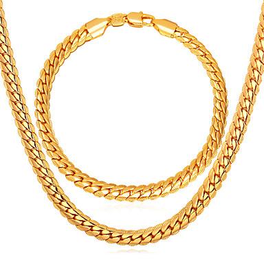levne Dámské šperky-Pánské Řetězové & Ploché Náramky Řetízky Link / řetězec Řepkový řetězec Twist Circle dámy Módní Pozlacené Růže pozlacená Náušnice Šperky Zlatá Pro Denní