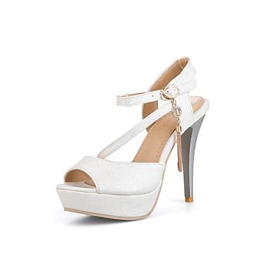 3d55aebbb Women s Shoes PU(Polyurethane) Summer Slingback Sandals Walking Shoes  Stiletto Heel Open Toe Rhinestone Gold   White   Pink 6695416 2019 –  29.99