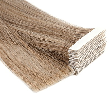 cheap Tape in Hair Extensions-Neitsi Tape In Human Hair Extensions Straight Remy Human Hair Human Hair Extensions Brazilian Hair Black Blonde 1pcs Odor Free Hand Made Light Colours Women's Dark Blonde / Honey Blonde