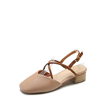 Mujer Verano Beige Cuero Zapatos Cuadrado Confort Tacón Sandalias rWArpO a811df15bb8b