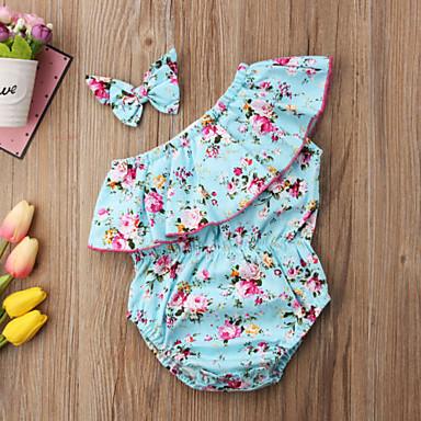 preiswerte Einteiler für kleine Mädchen-Baby Mädchen Retro / Aktiv Alltag / Ausgehen Blumen Schleife / Rüsche / Stilvoll Ärmellos Body Leicht Blau